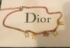 Pink butterfly choker necklace 🦋