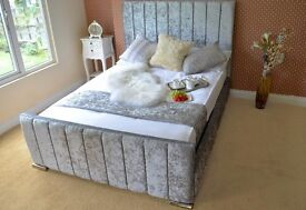 ETON **NEW** CRUSHED VELVET FABRIC UPHOLSTERED BED (FREE LOCAL DELIVERY)