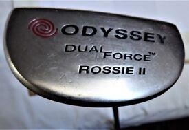 R H ODYSSEY DUAL FORCE ROSSIE 11 GOLF PUTTER C/W NEW ODYSSEY GRIP.