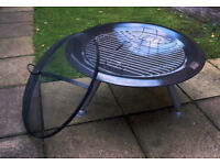 Round Fire Pit with BBQ Barbeque Grill and Fire Guard Black