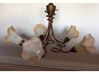 Showroom condition glass centre hanging light with 3 matching wall lights.