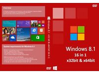 Windows 8.1 32bit & 64bit Operating System Recovery Repair Restore Boot Disc (16 in 1)