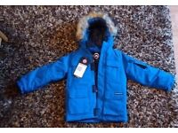 BRAND NEW - KIDS 3/4 WITH TAGS CANADA GOOSE BLUE PBI EXPEDITION PARKA - £50