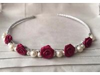 REDUCED!!! Pearlised bead and satin rose tiara ***Wedding/Prom***