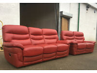 3+2 red leather recliner sofas, suite, couch DELIVERY AVAILABLE