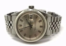 ROLEX DATEJUST 1601 18K WHITE GOLD BEZEL SILVER DIAL GENTS AUTO WATCH YEAR 1967