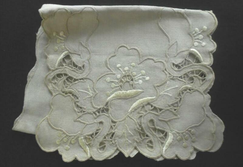 """VINTAGE GRAY/ECRU LINEN 48""""L TABLE RUNNER W/HAND DONE EMBROIDERED CUT WORK"""