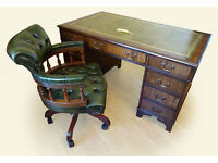 Antique Style Green Leather Top Pedestal Writing Office Desk (Key) & Gainsborough Captains Chair