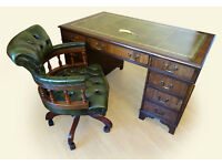 Antique Style Leather Top Pedestal Writing Desk (Key) & Captains Chair