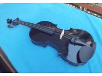 VIOLIN OUTFIT FULL SIZE- CASE + BOW - BLACK