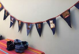 Denim bunting - suitable for indoors.