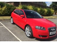 Well maintained classy red Audi A3Sportback with sunroof, tinted windows, 2006 reg