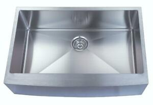 Single Bowl Apron Sink - Brushed Nickel Finish - aka Farmer Sink