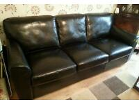 Real leather large settee