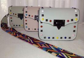 Designer Stud Embellished Mini Crossbody Bag Clutch Guitar Strap NEW