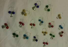 Christmas jingle bell glass charms
