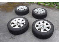 BMW E46 3 SERIES ALLOY WHEELS WITH 205 55R 16 WINTER TYRES