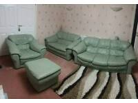 Leather 3 piece suite and pouffe
