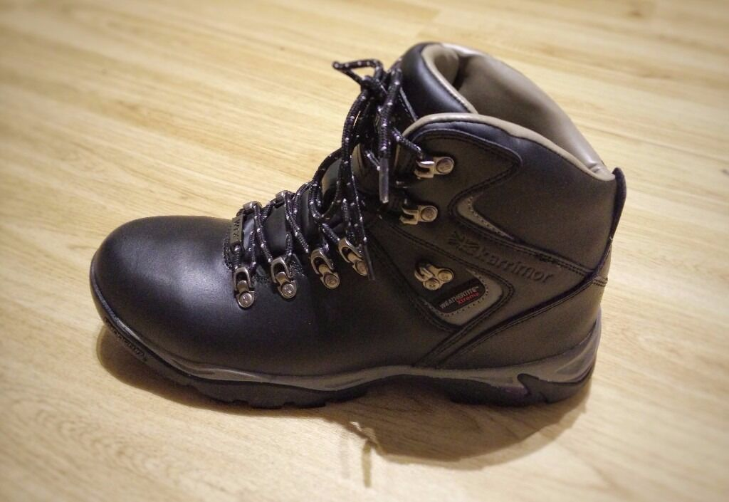 Karrimor Ladies Hiking Boots BLACK (Size UK 8 US 9 EUR 42) with Waterproof  Lining and Leather Upper 02b05cdfd5c7