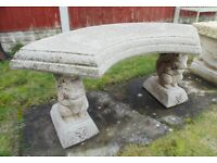(#694) concrete squirrel garden bench (Pick up only, Dy4 area)