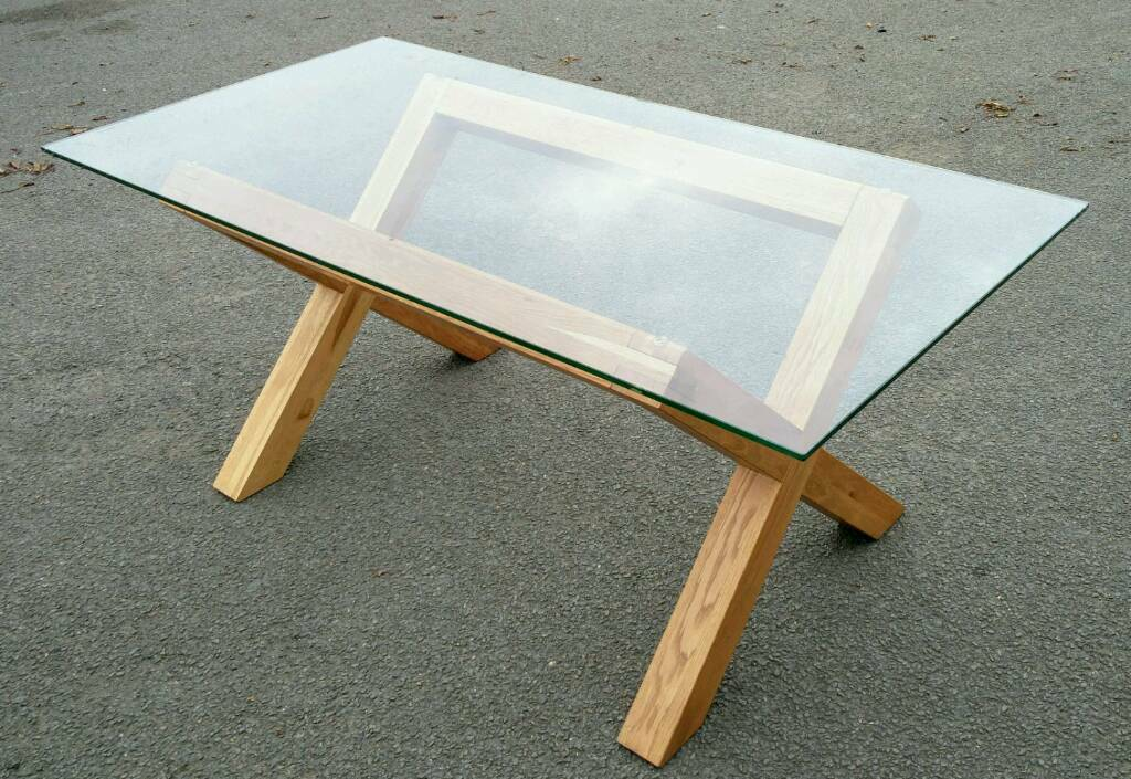 Glass Table - oak frame. 180x90cm ( delivery available)