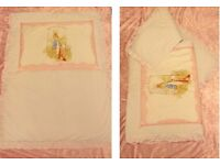 CAN POST Beatrix Potter Peter Rabbit White with Pink Trim Cot Bed Duvet Quilt and Bumper - Stunning