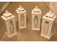 4x white metal lanterns with candles wedding decorations