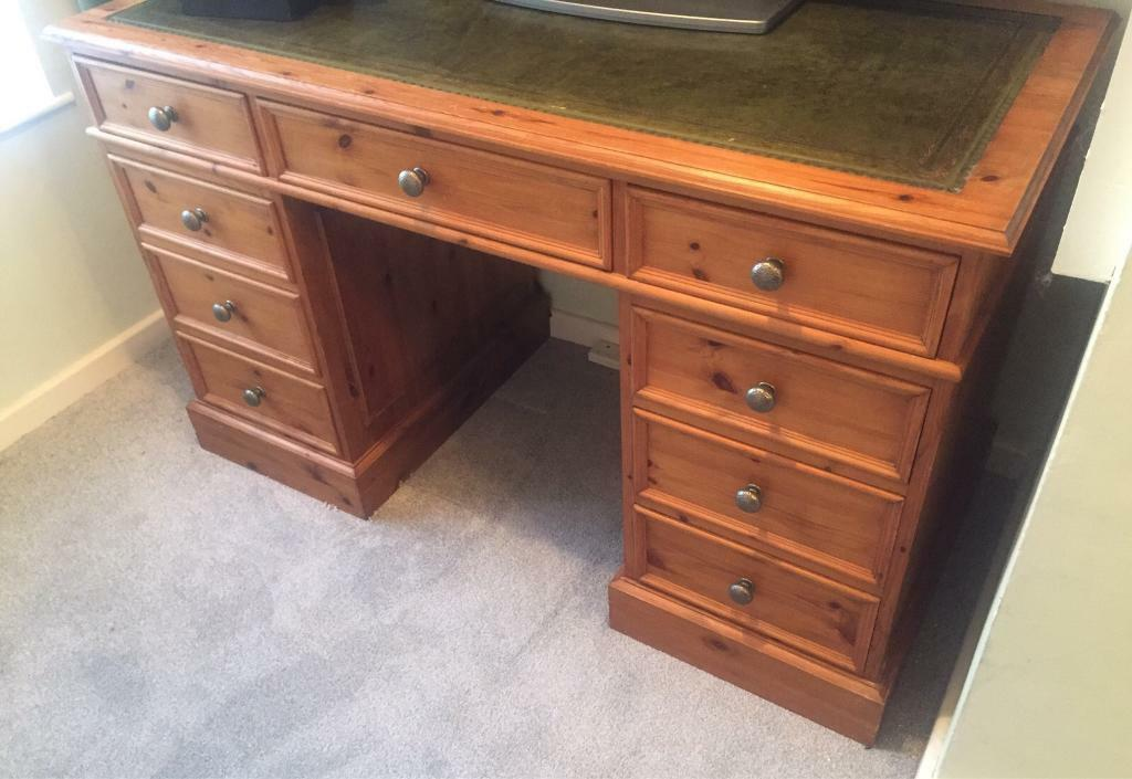 pine office desk. leather inlaid pine wood office desk