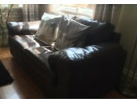 Chocolate Brown leather 2 seat sofa with matching bucket chair