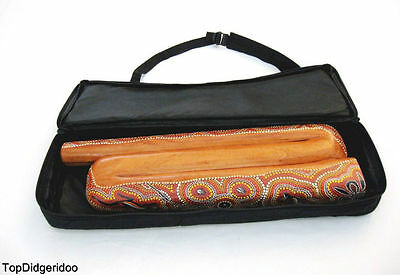 Z-Shape Didgeridoo+Bag Hand-Carved & Dot-Painted Mahogany Compact Travel Didgbox