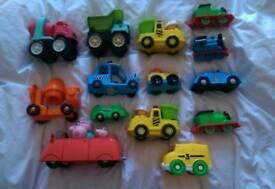 Assorted plastic cars, trains etc