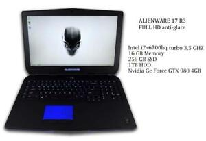 ALIENWARE 17 R3 IPS screen i7-6700hq Turbo 3.5 ghz 16gb 1TB 256GB SSD NVIDIA GTX 980m 4GB+ Complete Care JAN 12,,2019