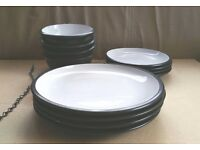 Dinnerware Set for 4, serving bowls, glass teacups, cheesplates.