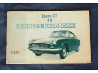 Bond Equipe GT 4S Owners Handbook manual - good condition. Very Rare - Collector's item.