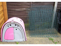 Clean PINK OMLET EGLU CLASSIC RABBIT HUTCH with 2 metre foxproof run (or Guinea pig house) & extras