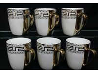 6 X GOLD OR SILVER DESIGNED MUGS