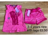 3-4 years tshirt and shorts girls £2.50
