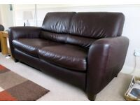 3 seater, dark brown leather sofa, excellent condition (used)