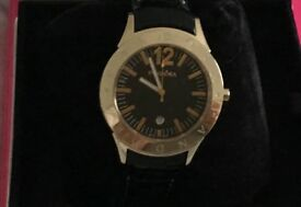PANDORA WATCH Gold Circle Face BLACK LEATHER STRAP in BOX Authentic unwanted gift Receipt RRP £295