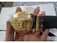 Men's Versace Gold Buckle Bling Belt - Genuine Designer