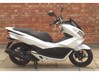 Honda PCX 125cc (17 REG) in white, Excellent condition, Only 1500 miles!