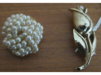 Brooches, one NEW. 50p - £2 each