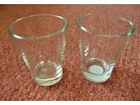 2 Empty Glass Candle Holders Jars Crafts Small Vases for Flower Arrangements Gift Jars