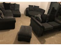 Corner sofa, 2 seater sofa, cuddle chair and foot stool