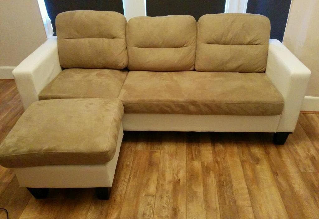 New Osaka leather and fabric chaise corner sofa : fabric chaise sofa - Sectionals, Sofas & Couches