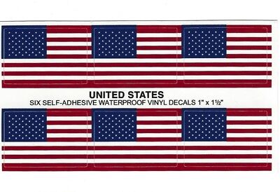 6 Official NFL American Flag USA Helmet Decal Stickers.Made in USA. Fast Ship 3M
