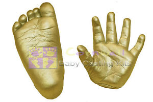 Baby 3d footprint feet hand print cast unisex casting Impression Kit Gold Paint