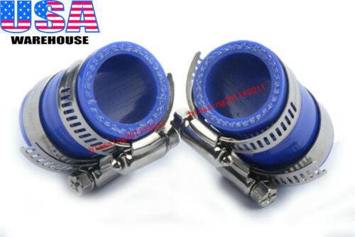 """FOR YAMAHA BLASTER HIGH TEMP RUBBER EXHAUST COUPLING CLAMP 1""""ID YFS200 BLUE 2PCS"""