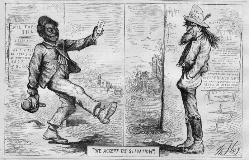 COLORED PEOPLE RIGHT TO VOTE IN 1867  RECONSTRUCTION HISTORY BY THOMAS NAST