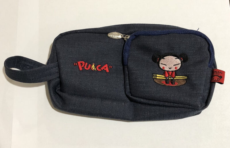 """Rare 2000 Pucca Wallet Pouch By Vooz Zip Blue 7.5""""x4.5"""" NWOT 2 Pockets"""